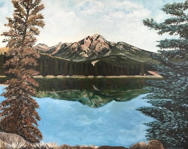 Reflection of Mt. Pyramid into Lake Edith